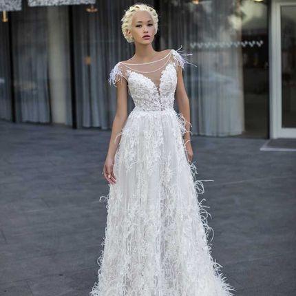 """Свадебное платье с перьями """"Матиола"""""""