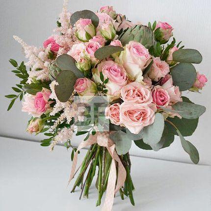 Свадебный букет пышный розовый