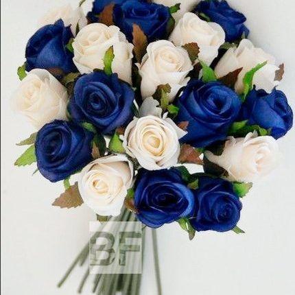 Свадебный букет - сине-белый микс
