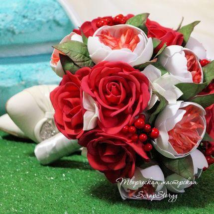 """Букет невесты """"Красные розы"""" и цветочный венок"""