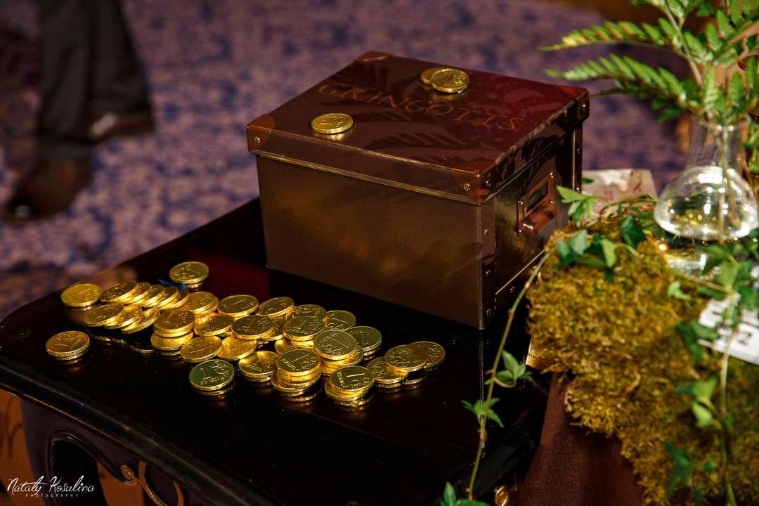 8335d82a0 На двусторонний скотч на крышку же приклеила несколько шоколадных монет.  Остальные монеты (всего было 50 шт.) Настя рассыпала на столе рядом с  казной.