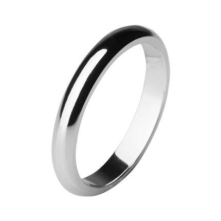 Обручальное кольцо из платины, округлое 3 мм