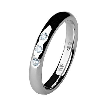 Обручальное кольцо из платины с 3 бриллиантами, 3 мм