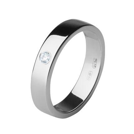 Обручальное кольцо из платины с 1 бриллиантом, 4 мм