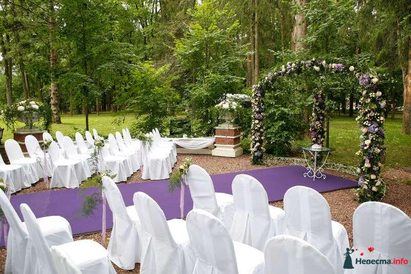 Подковообразная арка с композицией из живых цветов,на фоне стульев в чехлах и сиреневой дорожкой - фото 103791 Невеста01