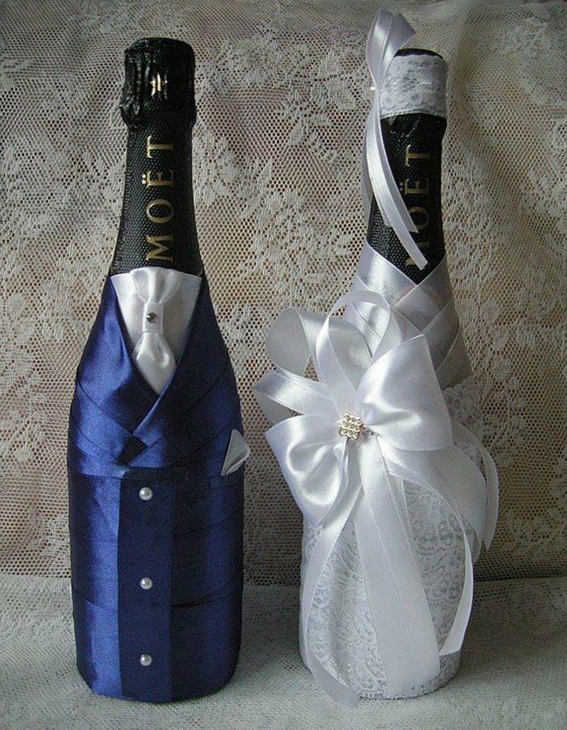 Украшаем бутылку на свадьбу своими руками фото