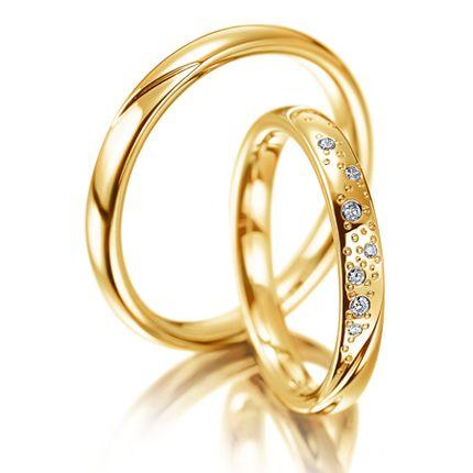 Обручальное кольцо золотое с фианитами