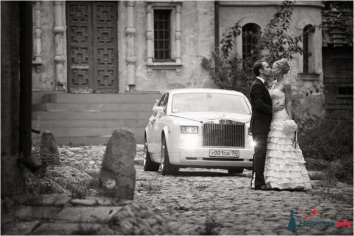 """Белый """"Мерседес"""" на фоне старинного здания и деревьев рядом с молодоженами. - фото 98548 Chanel№5"""