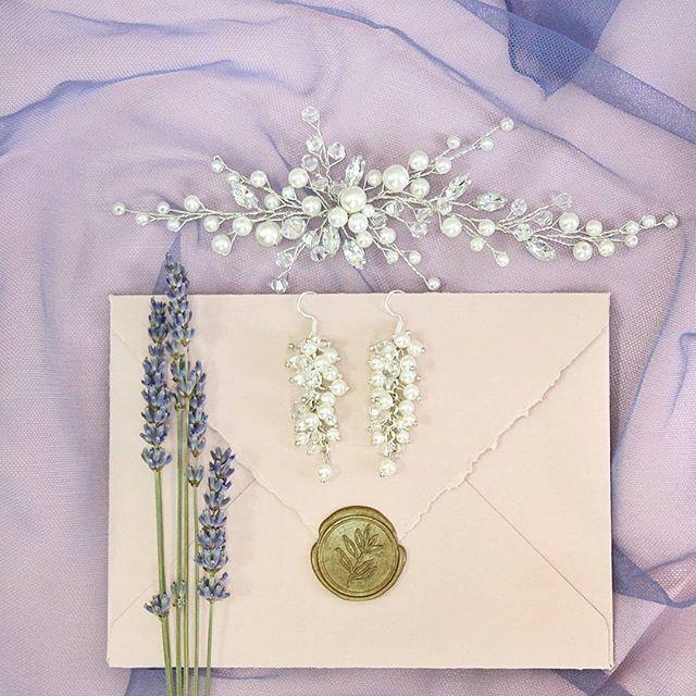 Свадебная веточка в голову 1200 рубю Серьги-гроздочки в комплекте 900 руб. - фото 17549094 Екатерина Захарова - украшения для волос