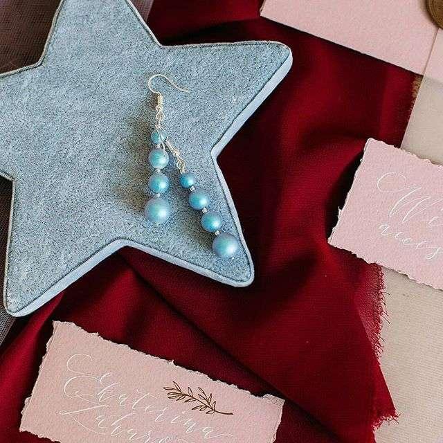 Серьги в голубом оттенке. Стоимость 400 руб. - фото 17549112 Екатерина Захарова - украшения для волос