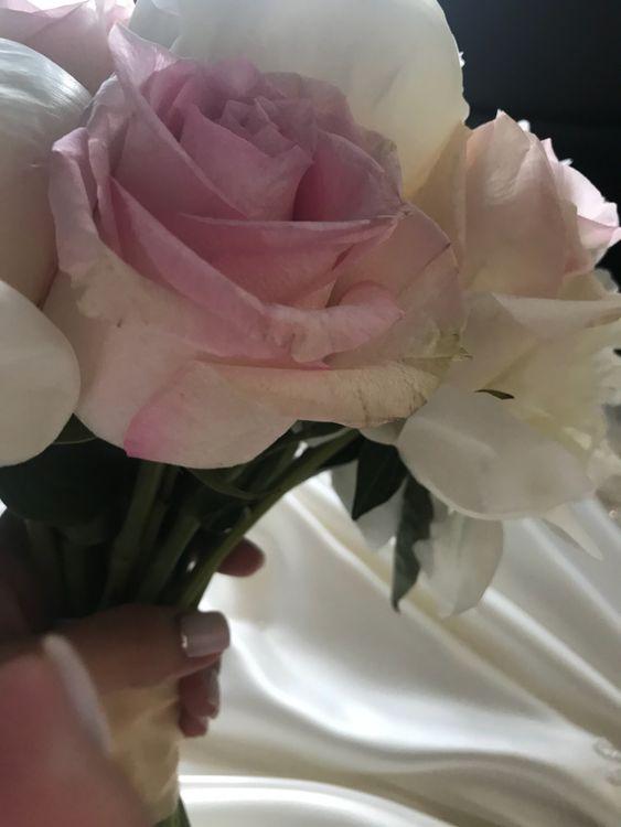 завядшие розы с букета невесы