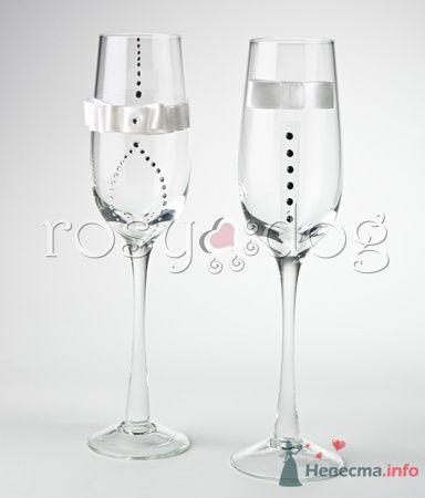 """Свадебные бокалы  для шампанского """"Жених и невеста в белом"""" - фото 79156 RosyDog – свадебные аксессуары из Америки и Европы"""