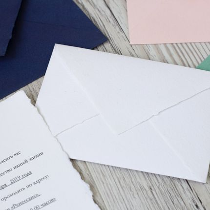 Приглашения из бумаги ручного отлива с живым краем