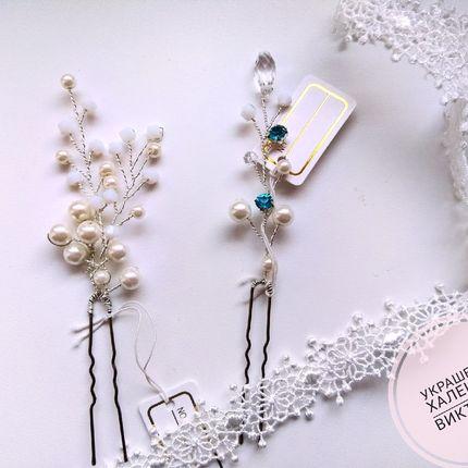 Декоративные шпилька с жемчужными бусинами