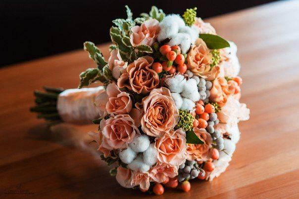 Букет невесты с розовыми ягодами гиперикума, липецк