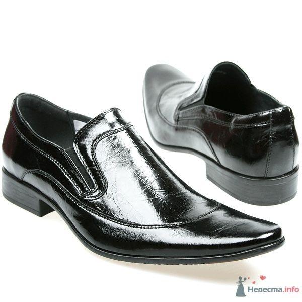 Мужские черные модельные  кожаные туфли с острым носком и без шнурков - фото 66878 Kwinto-shoes - cвадебная обувь