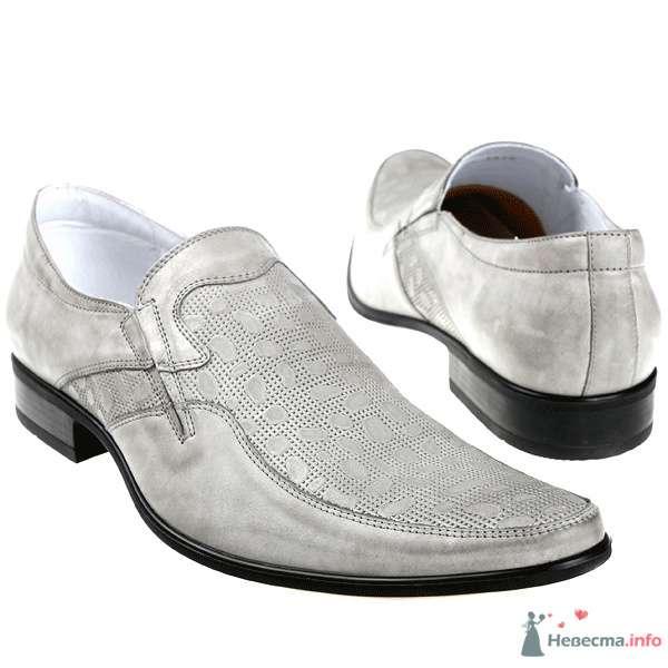 Серые мужские кожные туфли с черными каблуками - фото 76076 Kwinto-shoes - cвадебная обувь