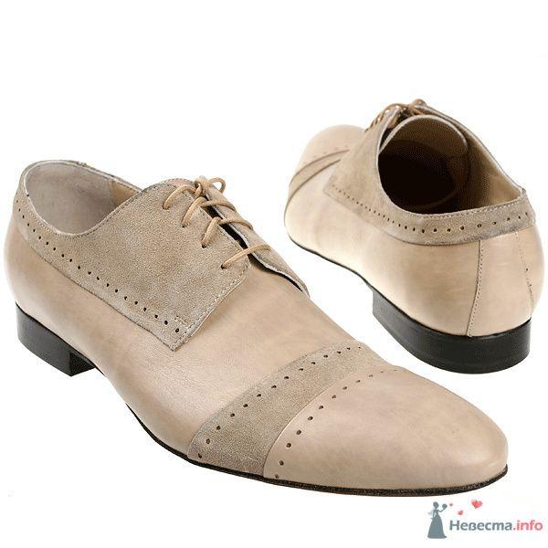 Бежевые кожаные мужские туфли со вставками с замшевой кожи, с черными каблуками и со шнурками - фото 76084 Kwinto-shoes - cвадебная обувь