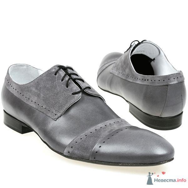 Серые кожаные мужские туфли со вставками с замшевой кожи, с черными каблуками и со шнурками - фото 76085 Kwinto-shoes - cвадебная обувь