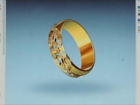 Созданная по эскизу дизайнера 3D модель обручального кольца Феникс.