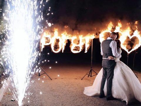 Огненная надпись на свадьбу в Ростове | GOF show